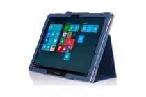 """Фирменный чехол-сумка для Samsung Galaxy Tab Pro S 12.2"""" SM-W700 / W703 / W707 с визитницей и держателем для руки синий кожаный """"Prestige"""" Италия"""