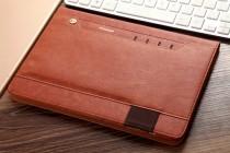 Фирменный премиальный чехол бизнес класса для Samsung Galaxy Tab S3 9.7 SM-T820/T825 с визитницей и крепежом для стилуса из качественной импортной кожи коричневый