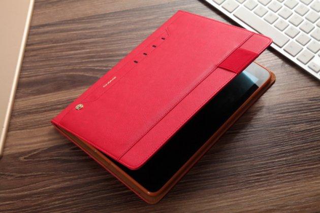 Фирменный премиальный чехол бизнес класса для Samsung Galaxy Tab S3 9.7 SM-T820/T825 с визитницей и крепежом для стилуса из качественной импортной кожи красный