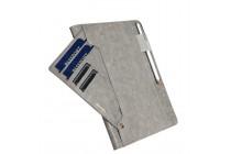 Фирменный премиальный чехол бизнес класса для Samsung Galaxy Tab S3 9.7 SM-T820/T825 с визитницей и крепежом для стилуса из качественной импортной кожи серый