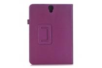 Фирменный чехол бизнес класса для Samsung Galaxy Tab S3 9.7 SM-T820/T825 с визитницей и держателем для руки фиолетовый натуральная кожа Prestige Италия