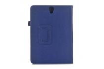 Фирменный чехол бизнес класса для Samsung Galaxy Tab S3 9.7 SM-T820/T825 с визитницей и держателем для руки синий натуральная кожа Prestige Италия