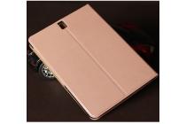 Фирменный премиальный чехол бизнес класса для Samsung Galaxy Tab S3 9.7 SM-T820/T825 с визитницей из качественной импортной кожи розовое золото.