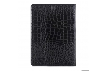 Лаковая блестящая кожа под крокодила чехол для Samsung Galaxy Tab S3 9.7 SM-T820/T825 чёрный.