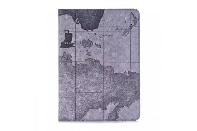 """Чехол-футляр для Samsung Galaxy Tab S3 9.7 SM-T820/T825 """"тематика карта мира"""" кожаный серый"""