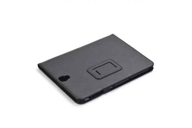 Фирменный чехол бизнес класса для Samsung Galaxy Tab S3 9.7 SM-T820/T825 с визитницей и держателем для руки черный натуральная кожа Prestige Италия