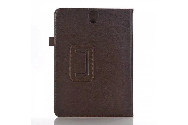 Фирменный чехол бизнес класса для Samsung Galaxy Tab S3 9.7 SM-T820/T825 с визитницей и держателем для руки коричневый натуральная кожа Prestige Италия