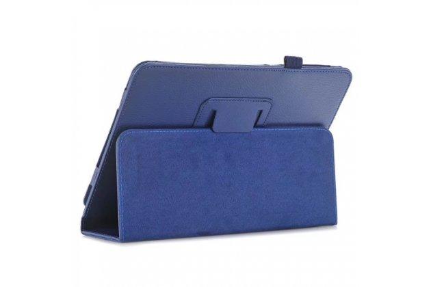 Фирменный чехол бизнес класса для Samsung Galaxy Tab S3 9.7 SM-T820/T825  синий натуральная кожа Prestige Италия