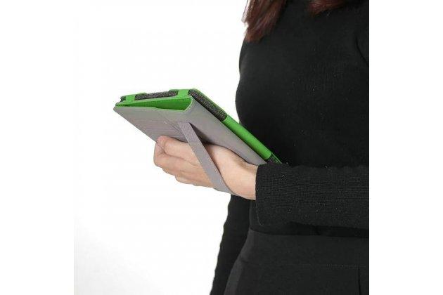 Фирменный чехол бизнес класса для Samsung Galaxy Tab S3 9.7 SM-T820/T825 с визитницей и держателем для руки зеленый натуральная кожа Prestige Италия