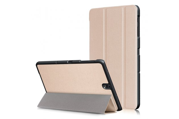 Фирменный умный чехол самый тонкий в мире для Samsung Galaxy Tab S3 9.7 SM-T820/T825 iL Sottile золотого цвета кожаный.