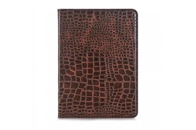 Лаковая блестящая кожа под крокодила чехол для Samsung Galaxy Tab S3 9.7 SM-T820/T825 коричневый.