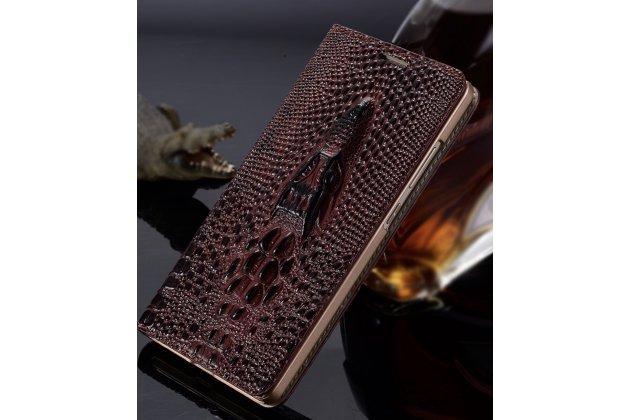 Фирменная роскошная эксклюзивная чехол-книжка с объёмным 3D изображением головы крокодила темно-красная для Sony Xperia E5. Только в нашем магазине. Количество ограничено