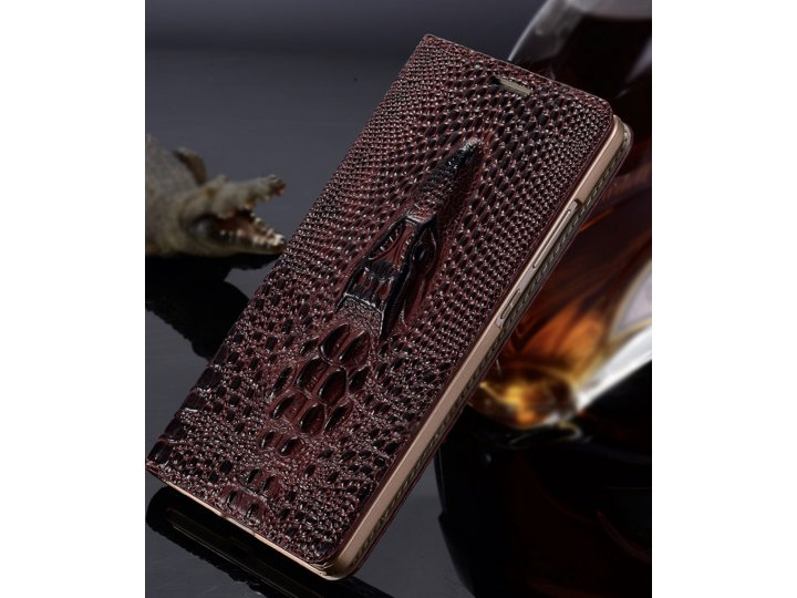 Фирменная роскошная эксклюзивная чехол-книжка с объёмным 3D изображением головы крокодила темно-красная для So..
