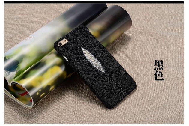 Фирменная роскошная эксклюзивная накладка  из натуральной рыбьей кожи СКАТА (с жемчужным блеском) чёрный для Sony Xperia E5. Только в нашем магазине. Количество ограничено