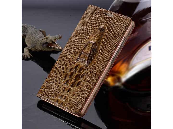 Фирменная роскошная эксклюзивная накладка с объёмным 3D изображением головы крокодила коричневая для Sony Xper..