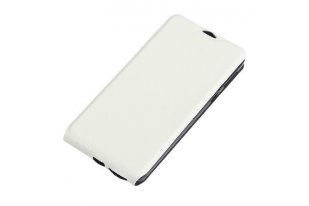 Фирменный оригинальный вертикальный откидной чехол-флип для Sony Xperia E5 белый из натуральной кожи Prestige Италия