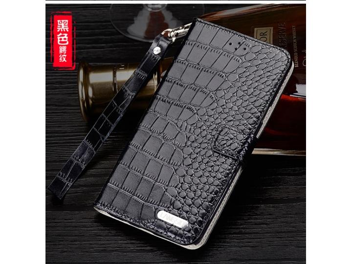 Фирменный роскошный эксклюзивный чехол с фактурной прошивкой рельефа кожи крокодила и визитницей черный для So..