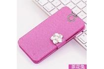 Фирменный роскошный чехол-книжка безумно красивый декорированный бусинками и кристаликами на Sony Xperia E5 розовый