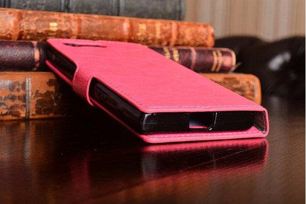 """Фирменный чехол-книжка  из качественной импортной кожи с застёжкой и мультиподставкой для Sony Xperia X Compact 4.6"""" ( F5321/ F5321RU) розовый"""