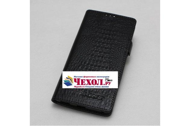 Фирменный оригинальный подлинный чехол с логотипом для Sony Xperia X Compact 4.6 ( F5321/ F5321RU) из натуральной кожи крокодила черный