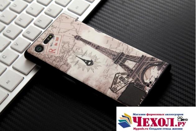 """Фирменная роскошная задняя панель-чехол-накладка  из мягкого силикона с безумно красивым расписным 3D рисунком на Sony Xperia X Compact 4.6 ( F5321/ F5321RU) """"тематика Париж"""""""