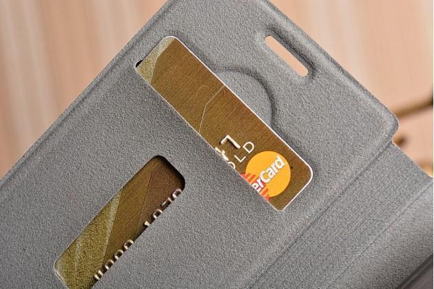 """Фирменный премиальный чехол-книжка из качественной импортной кожи с мульти-подставкой и визитницей на жёсткой металлической основе для Sony Xperia X Compact 4.6"""" ( F5321/ F5321RU) """"Винтаж"""" черный"""