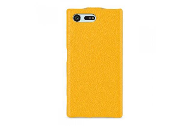Фирменный оригинальный вертикальный откидной чехол-флип для Sony Xperia X Compact 4.6 ( F5321/ F5321RU) желтый из натуральной кожи Prestige