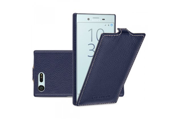Фирменный оригинальный вертикальный откидной чехол-флип для Sony Xperia X Compact 4.6 ( F5321/ F5321RU) синий из натуральной кожи Prestige