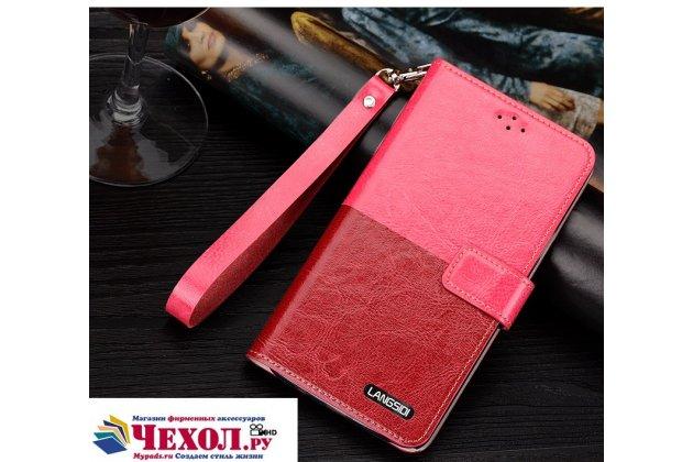 Фирменный чехол-книжка из качественной импортной кожи с подставкой застёжкой и визитницей для Sony Xperia X Performance/ X Performance Dual красно-розовый