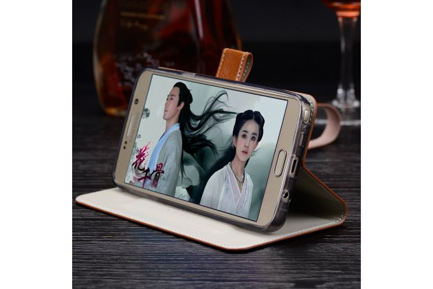 Фирменный чехол-книжка из качественной импортной кожи с подставкой застёжкой и визитницей для Sony Xperia X Performance/ X Performance Dual коричнево-черный