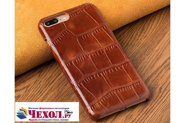 Фирменная элегантная экзотическая задняя панель-крышка с фактурной отделкой натуральной кожи крокодила для Sony Xperia X Performance/ X Performance Dual коричневая. Только в нашем магазине. Количество ограничено.