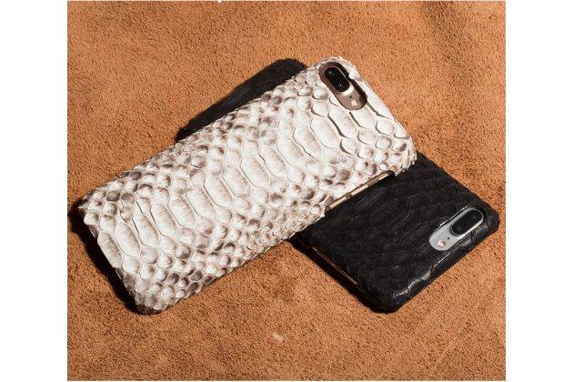 Фирменная элегантная экзотическая задняя панель-крышка с фактурной отделкой натуральной кожи змеи для Sony Xperia X Performance/ X Performance Dual белая. Только в нашем магазине. Количество ограничено.