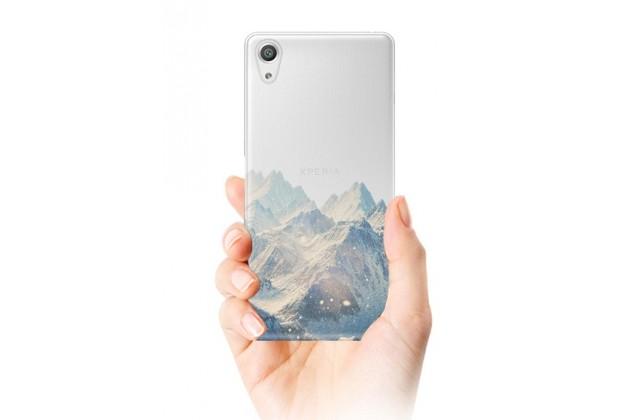 """Фирменная задняя панель-крышка-накладка из тончайшего и прочного пластика для Sony Xperia X / X Dual 5.0"""" (F5121 / F5122) с изображением """"Горы"""""""