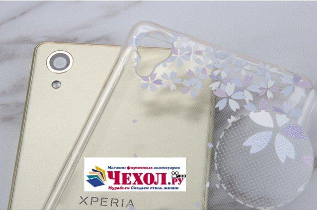 """Фирменная ультра-тонкая полимерная из мягкого качественного силикона задняя панель-чехол-накладка для Sony Xperia X / X Dual 5.0"""" (F5121 / F5122) прозрачная с изображением """"Бабочки в цветах"""""""