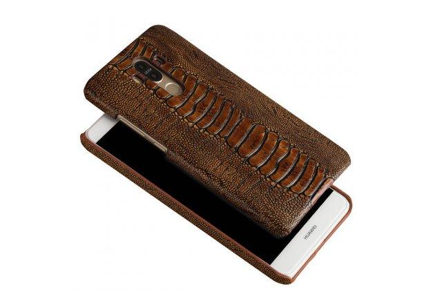 """Фирменная элегантная экзотическая задняя панель-крышка с фактурной отделкой натуральной кожи крокодила кофейного цвета для Sony Xperia X / X Dual 5.0"""" (F5121 / F5122). Только в нашем магазине. Количество ограничено."""