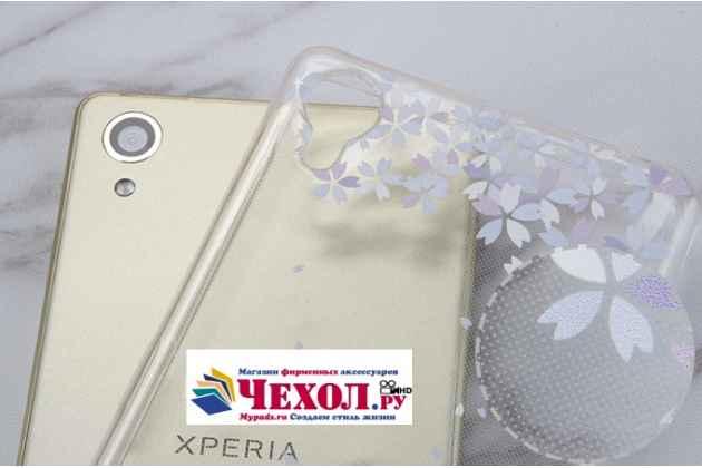 """Фирменная ультра-тонкая полимерная из мягкого качественного силикона задняя панель-чехол-накладка для Sony Xperia X / X Dual 5.0"""" (F5121 / F5122) прозрачная с изображением """"Перья"""""""