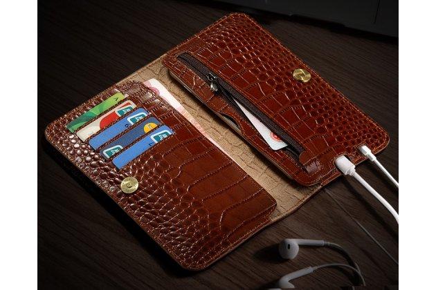 """Фирменный чехол-портмоне-клатч-кошелек из лаковой кожи крокодила для Sony Xperia X / X Dual 5.0"""" (F5121 / F5122) коричневый"""
