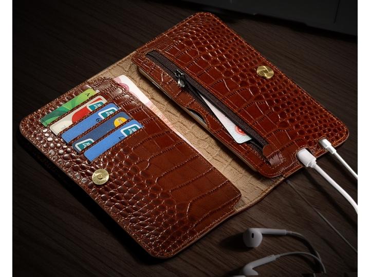 Фирменный чехол-портмоне-клатч-кошелек из лаковой кожи крокодила для Sony Xperia X / X Dual 5.0