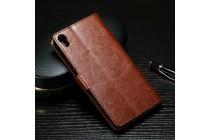 """Фирменный чехол-книжка из качественной импортной кожи с подставкой застёжкой и визитницей для Sony Xperia X / X Dual 5.0"""" (F5121 / F5122) коричневый"""