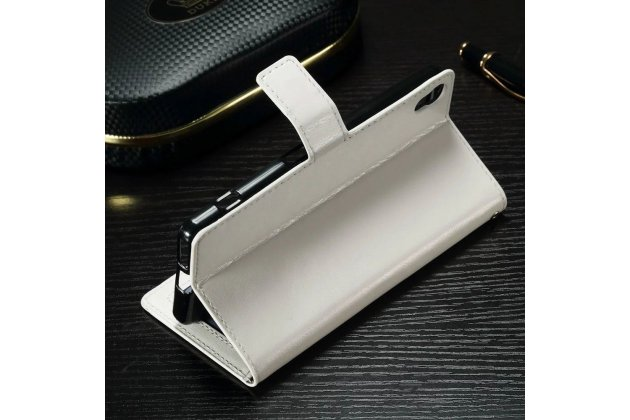 """Фирменный чехол-книжка из качественной импортной кожи с подставкой застёжкой и визитницей для Sony Xperia X / X Dual 5.0"""" (F5121 / F5122) белый"""