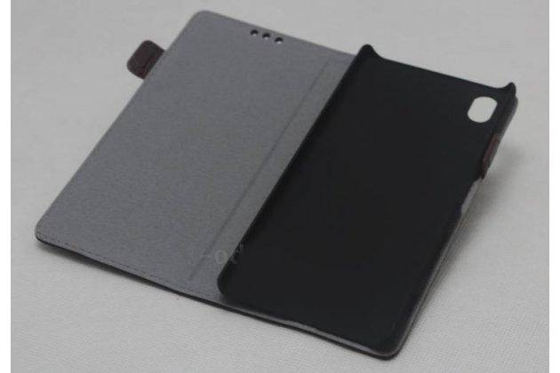 """Фирменный чехол-книжка из качественной импортной кожи с застёжкой и мультиподставкой для Sony Xperia X / X Dual 5.0"""" (F5121 / F5122) коричневый"""