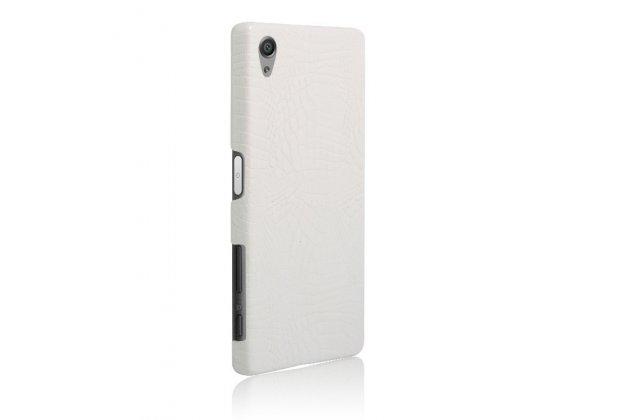 """Фирменная задняя панель-крышка на пластиковой основе обтянутая фактурной кожей для Sony Xperia X / X Dual 5.0"""" (F5121 / F5122) белая"""