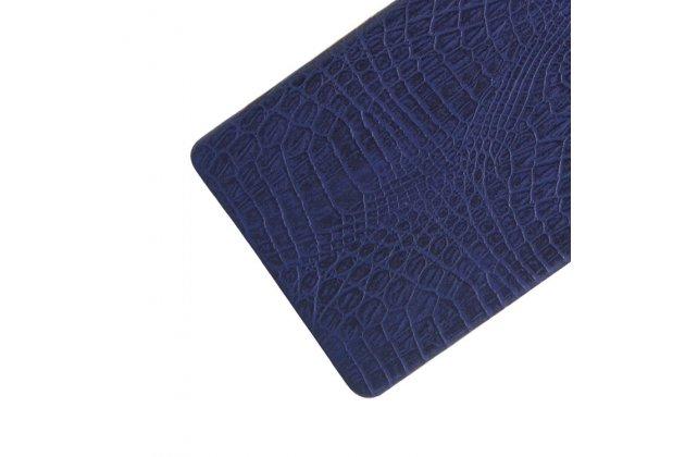 """Фирменная задняя панель-крышка на пластиковой основе обтянутая фактурной кожей для Sony Xperia X / X Dual 5.0"""" (F5121 / F5122) синяя"""