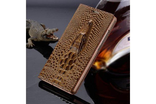 """Фирменный роскошный эксклюзивный чехол с объёмным 3D изображением кожи крокодила коричневый для Sony Xperia X / X Dual 5.0"""" (F5121 / F5122). Только в нашем магазине. Количество ограничено"""