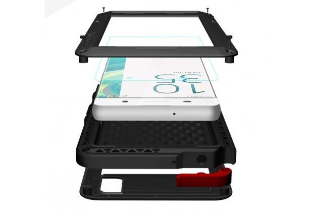 """Неубиваемый водостойкий противоударный водонепроницаемый грязестойкий влагозащитный ударопрочный фирменный чехол-бампер для Sony Xperia XA / XA Dual 5.0"""" (F3113/ F3112 / F3115 /E6533) цельно-металлический со стеклом Gorilla Glass серебристый"""