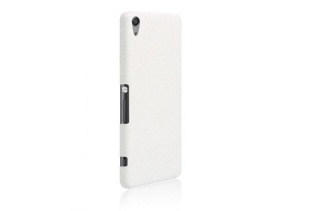 """Фирменная задняя панель-крышка на пластиковой основе обтянутая фактурной кожей для Sony Xperia XA / XA Dual 5.0"""" (F3113/ F3112 / F3115 /E6533) белая"""