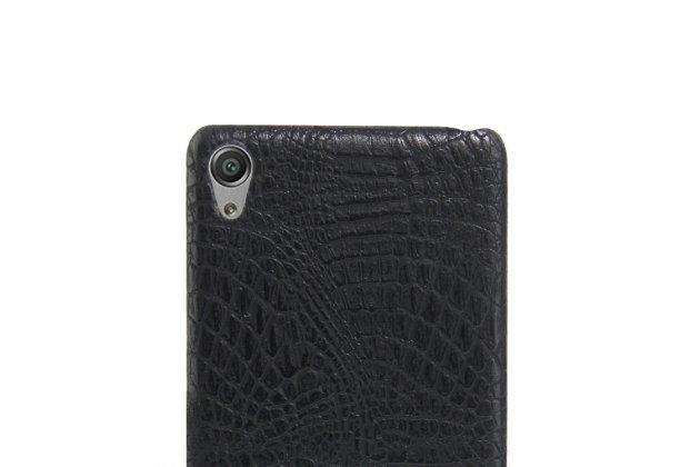 """Фирменная задняя панель-крышка на пластиковой основе обтянутая фактурной кожей для Sony Xperia XA / XA Dual 5.0"""" (F3113/ F3112 / F3115 /E6533) черная"""