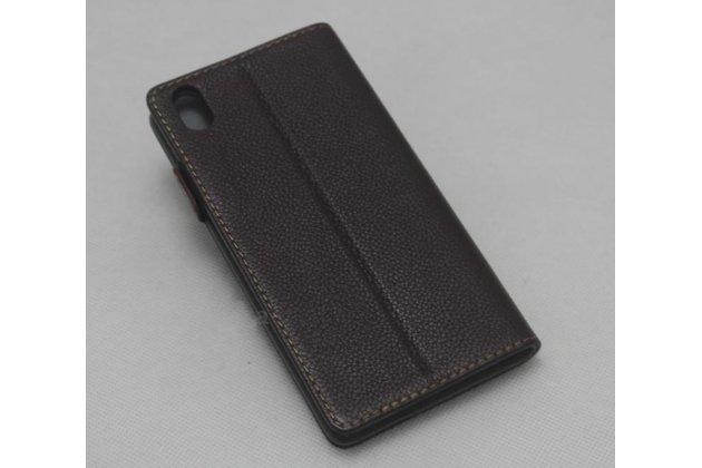 """Фирменный чехол-книжка из качественной импортной кожи с подставкой и застёжкой для Sony Xperia XA / XA Dual 5.0"""" (F3113/ F3112 / F3115 /E6533) коричневый"""