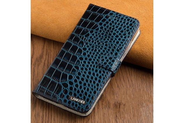 "Фирменный чехол-книжка с подставкой, застежкой и визитницей для Sony Xperia XA / XA Dual 5.0"" (F3113/ F3112 / F3115 /E6533) лаковая кожа крокодила бирюзовый"