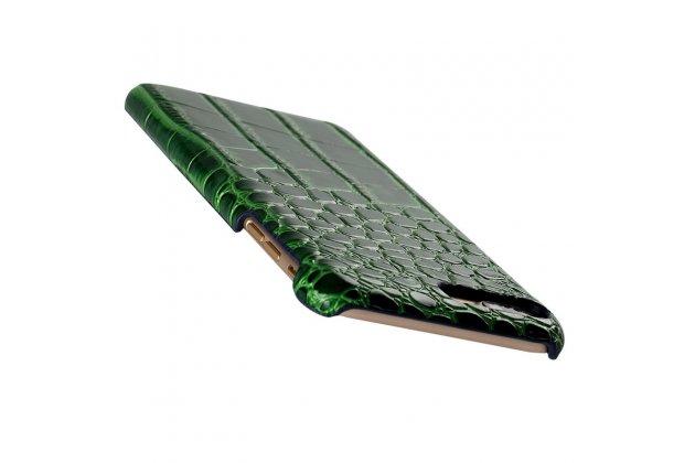 """Фирменная роскошная элитная премиальная задняя панель-крышка на пластиковой основе обтянутая лаковой кожей крокодила  для Sony Xperia XA / XA Dual 5.0"""" (F3113/ F3112 / F3115 /E6533) зеленая"""